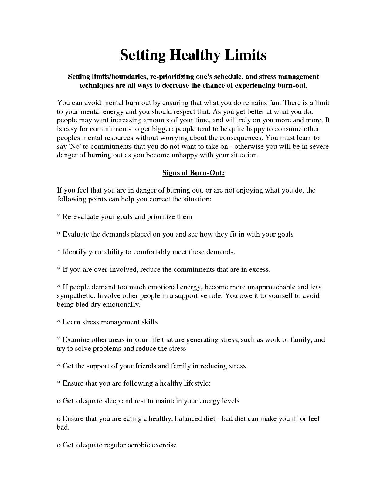 Healthy Boundaries Worksheet