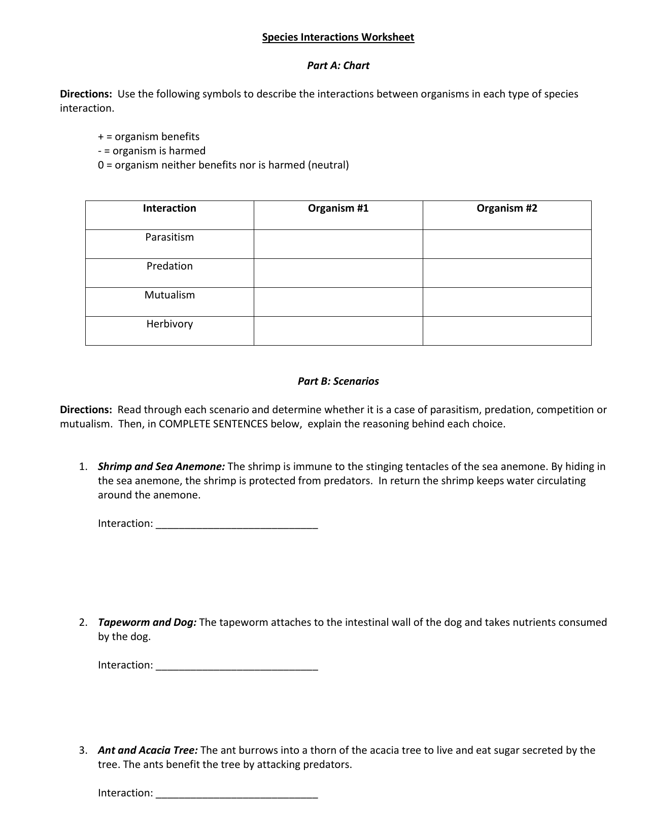 Species Interactions Worksheet Answer Key Excelguider
