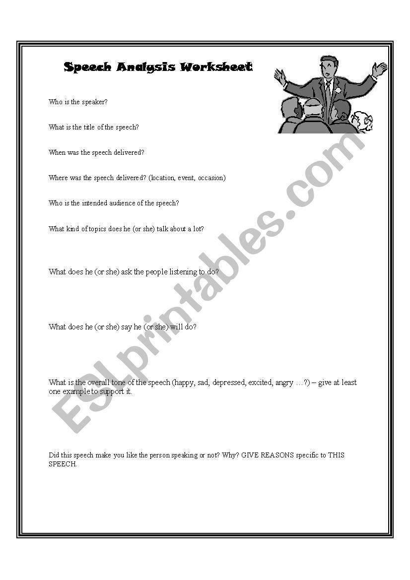 Speech Analysis Worksheet — excelguider.com