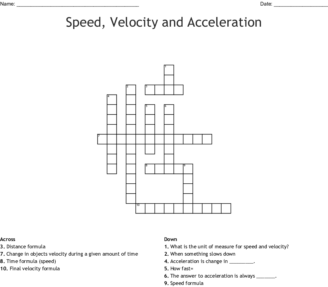 Speed Velocity And Acceleration Crossword Wordmint Inside