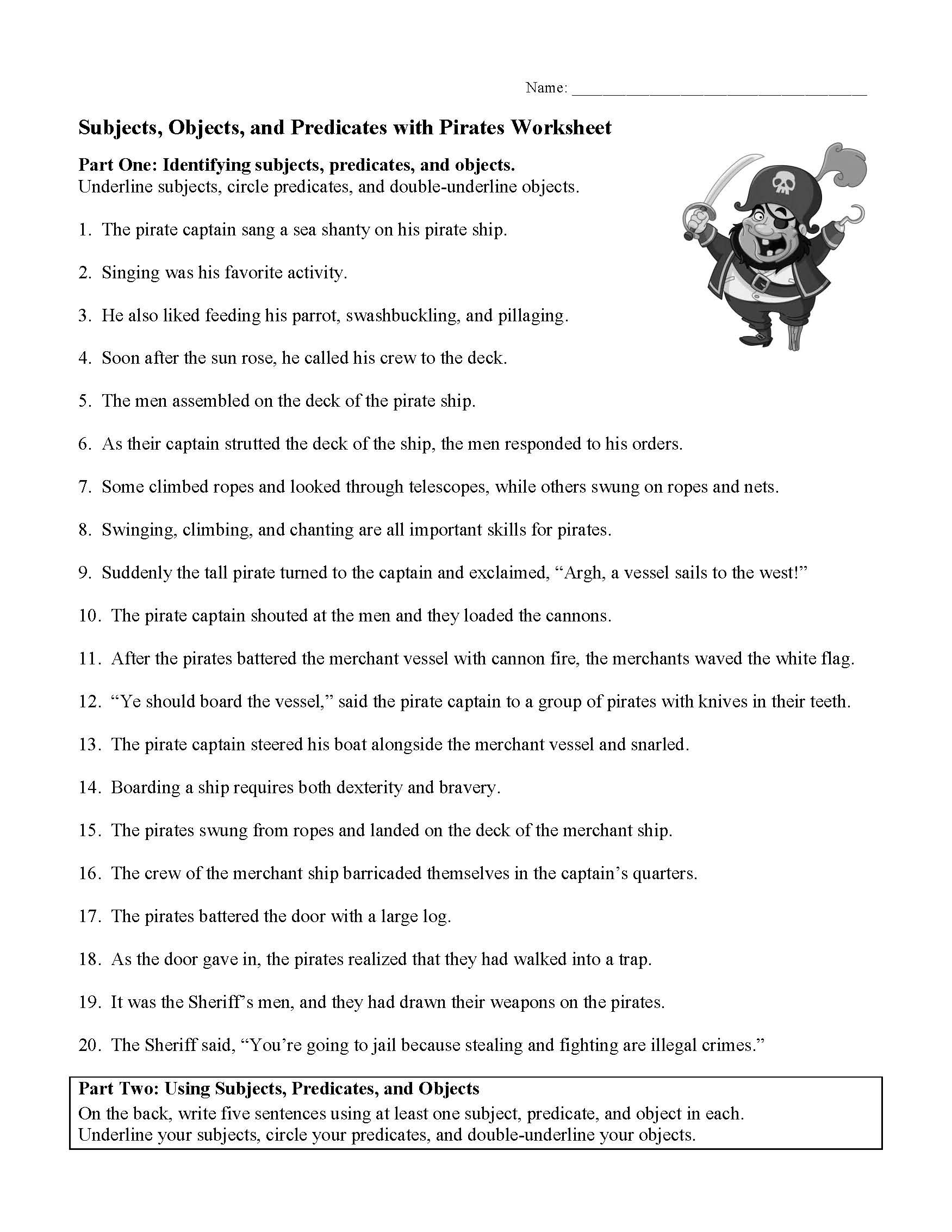 Subjects Objects And Predicates With Pirates Worksheet