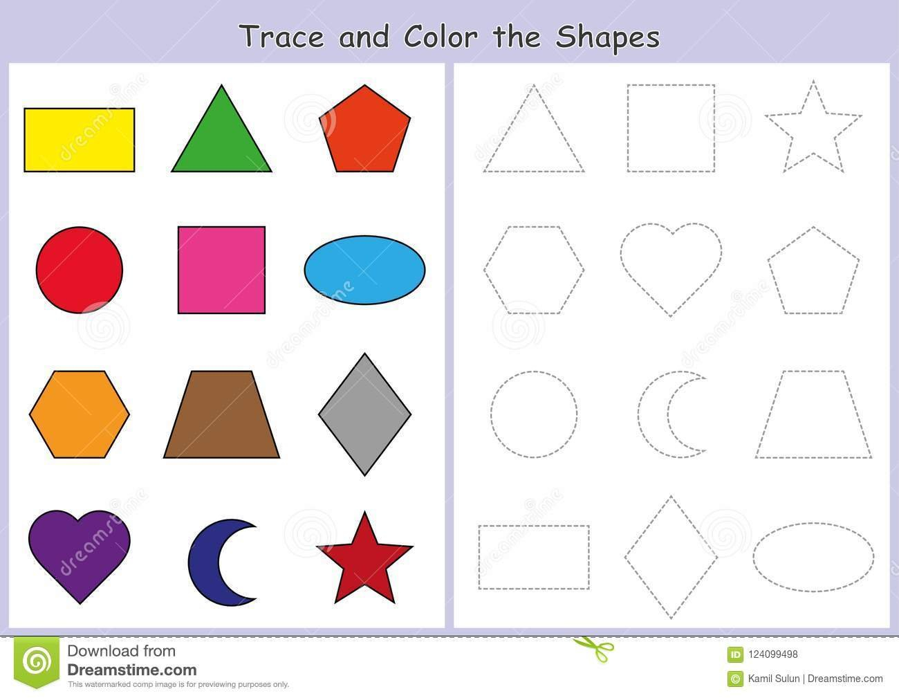 Tracing And Color The Geometric Shapes Worksheet For Kids