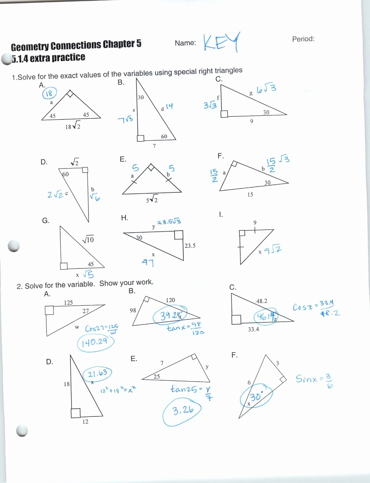 Worksheet Trigonometric Ratios Sohcahtoa Answer Key