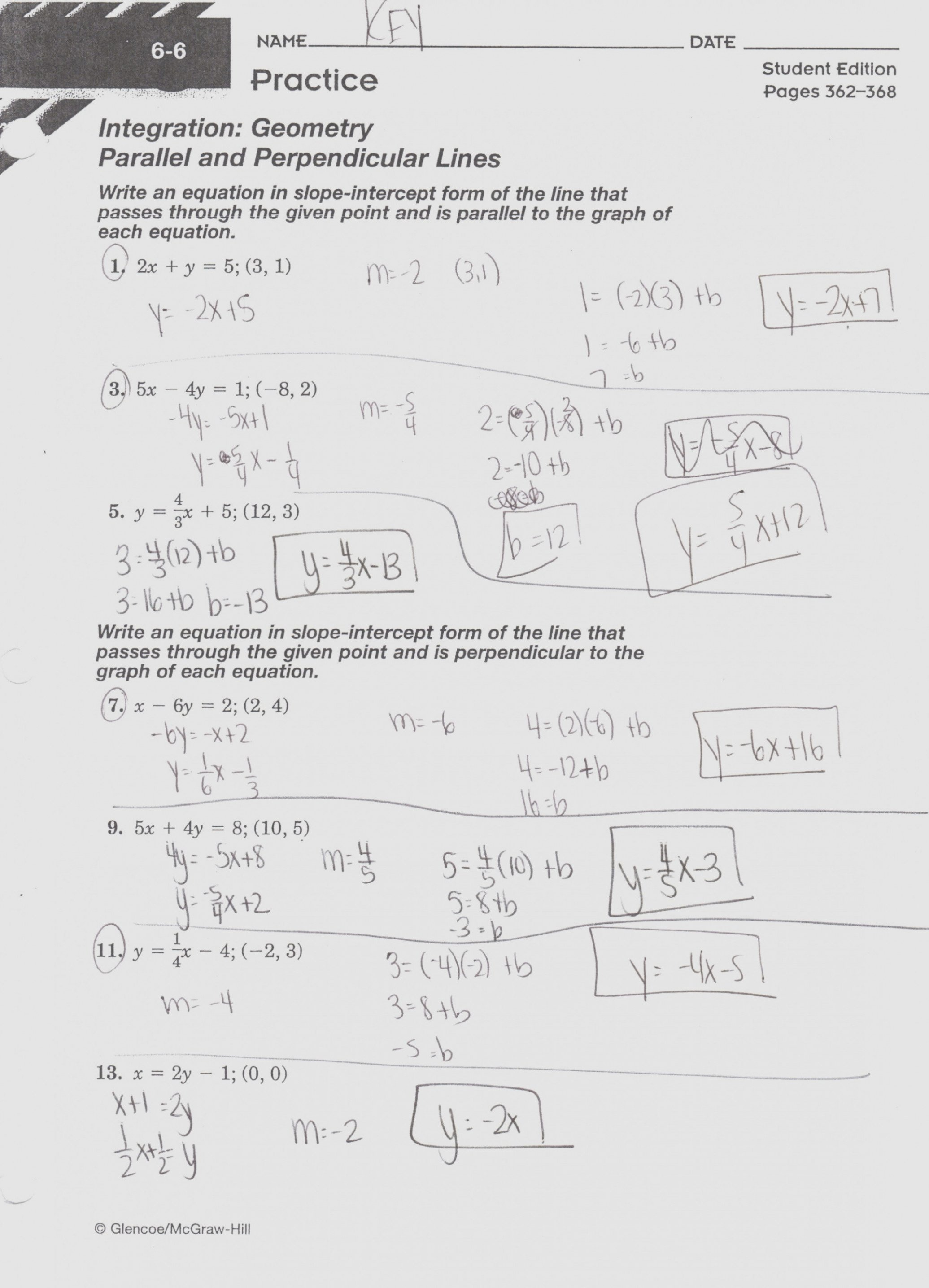 Writing Linear Equations Worksheet Answers