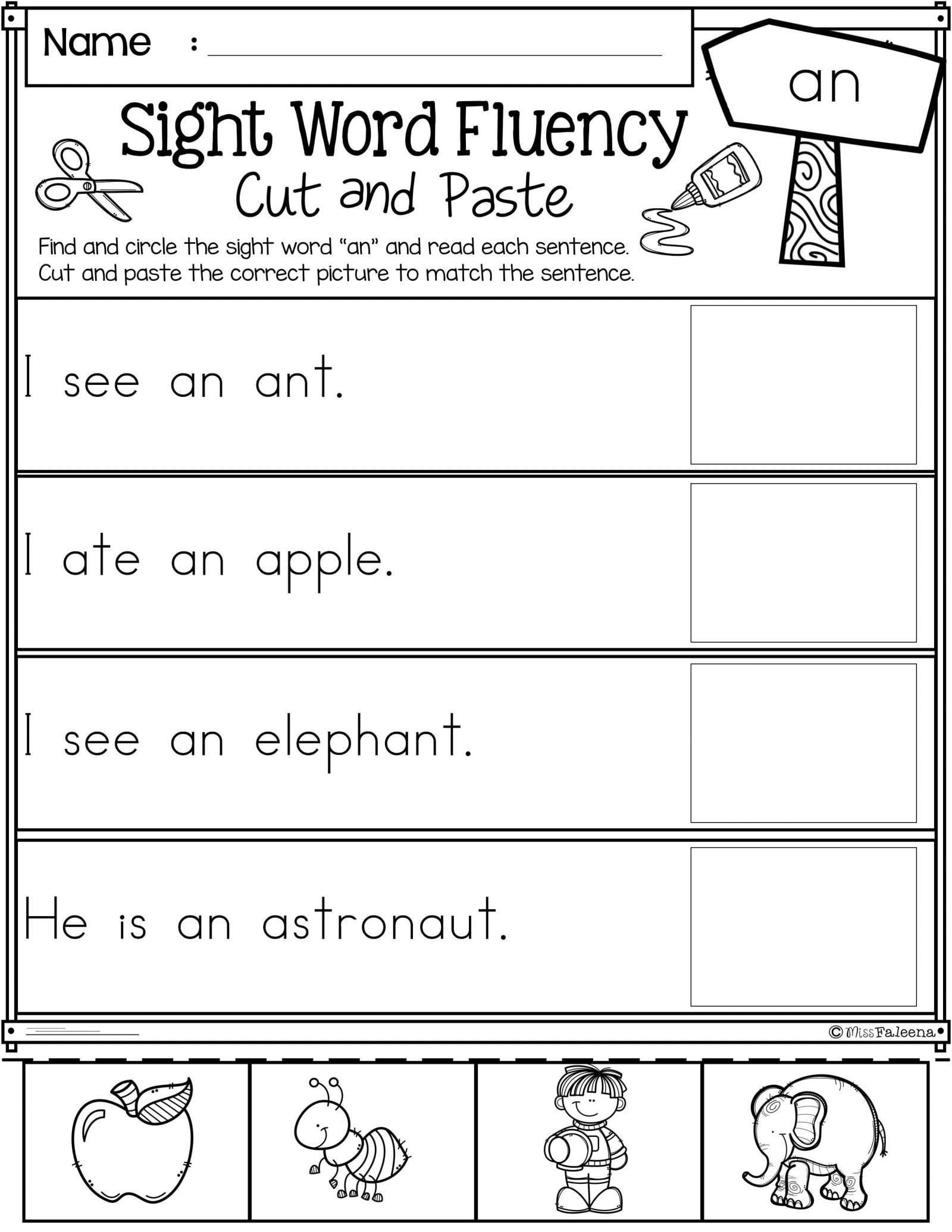 Sight Word Sentences Worksheets