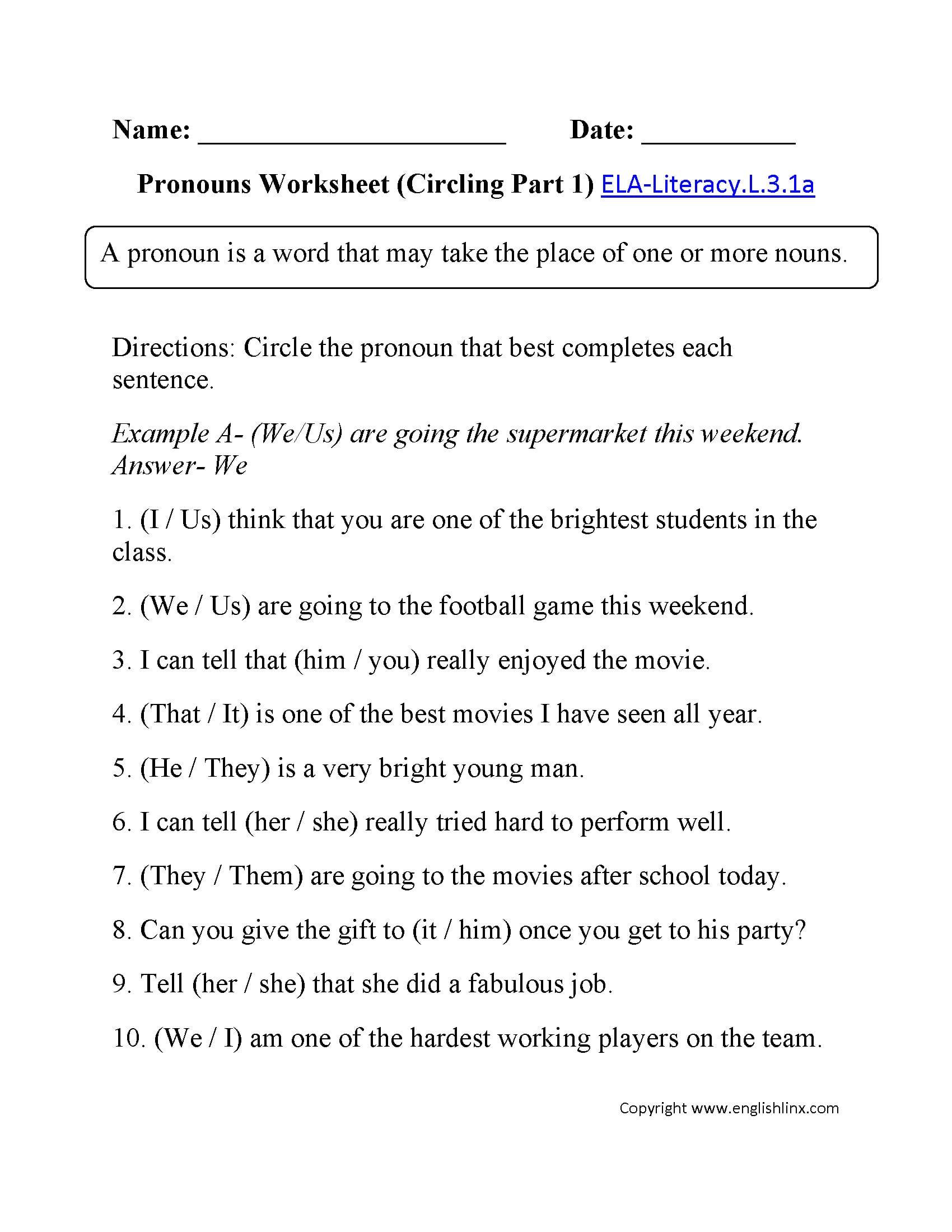 3rd Class English Worksheet