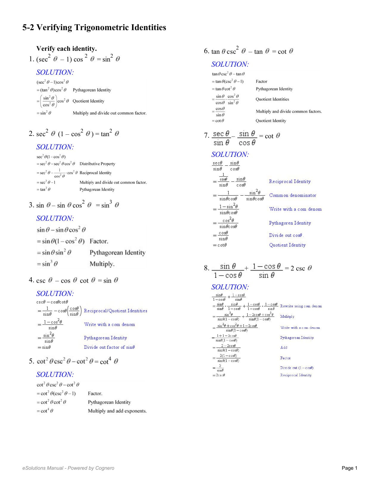 Worksheet With Answers On Trigonometric Identities