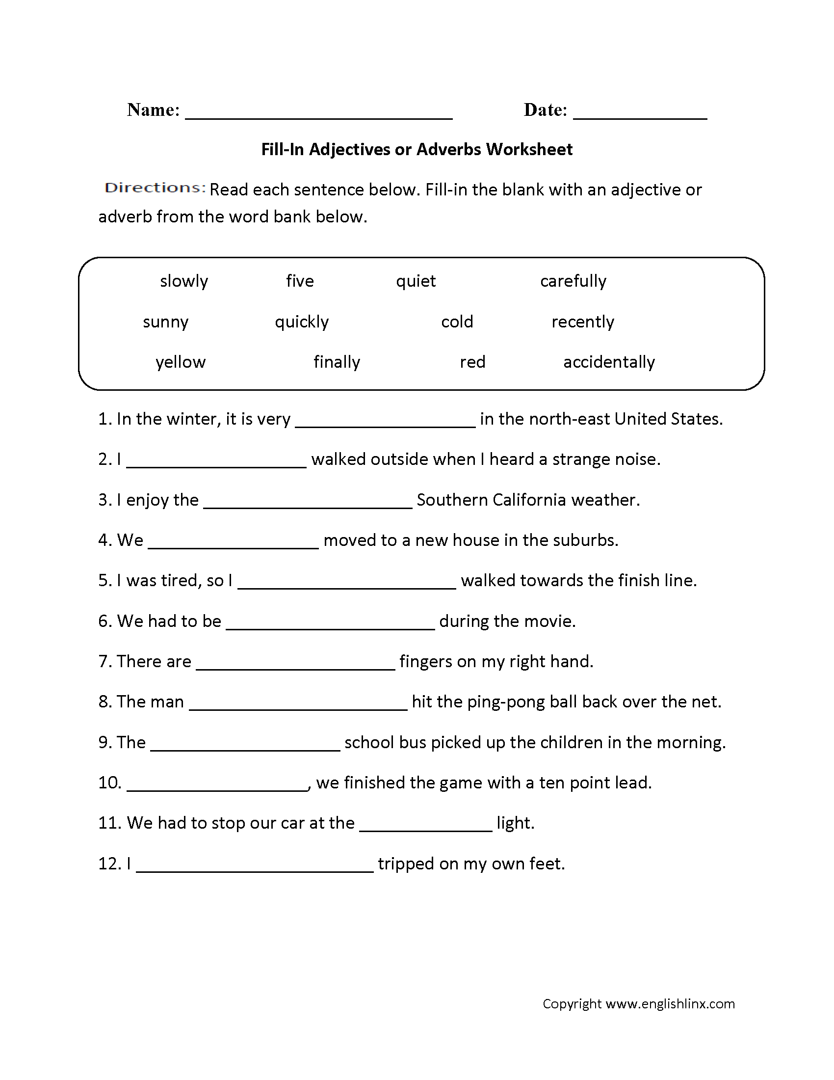 Adjective And Adverb Worksheets With Answer Key