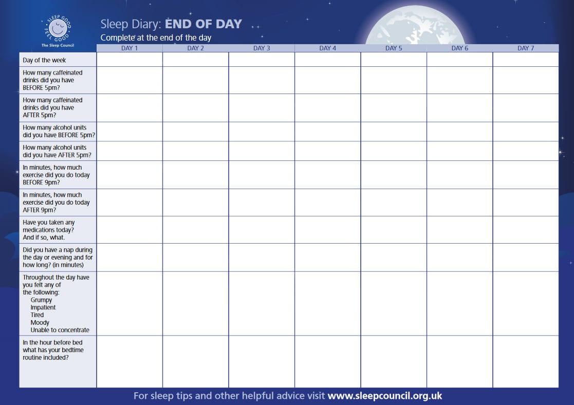 Sleep Diary Worksheet