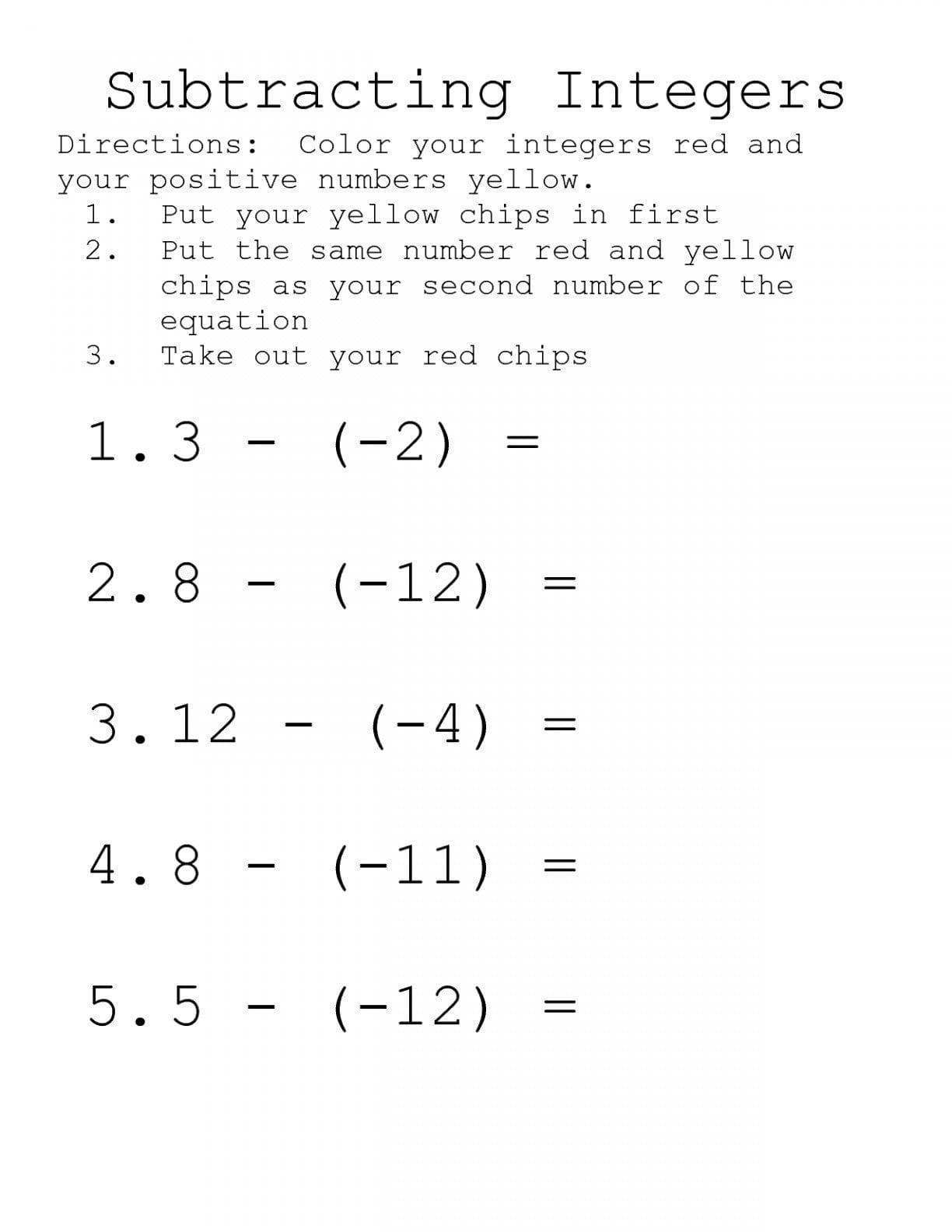 Integers Worksheet Grade 7