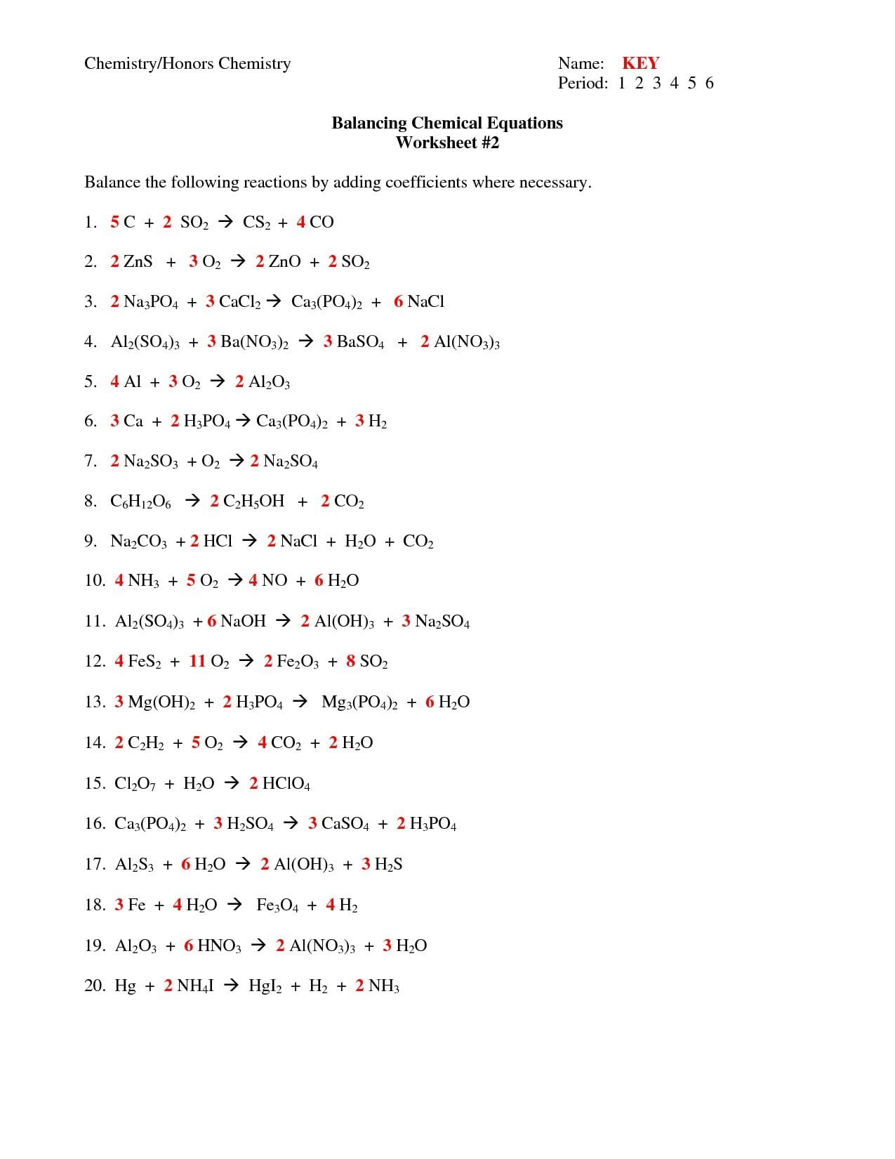 Chapter 7 Worksheet 1 Balancing Chemical Equations