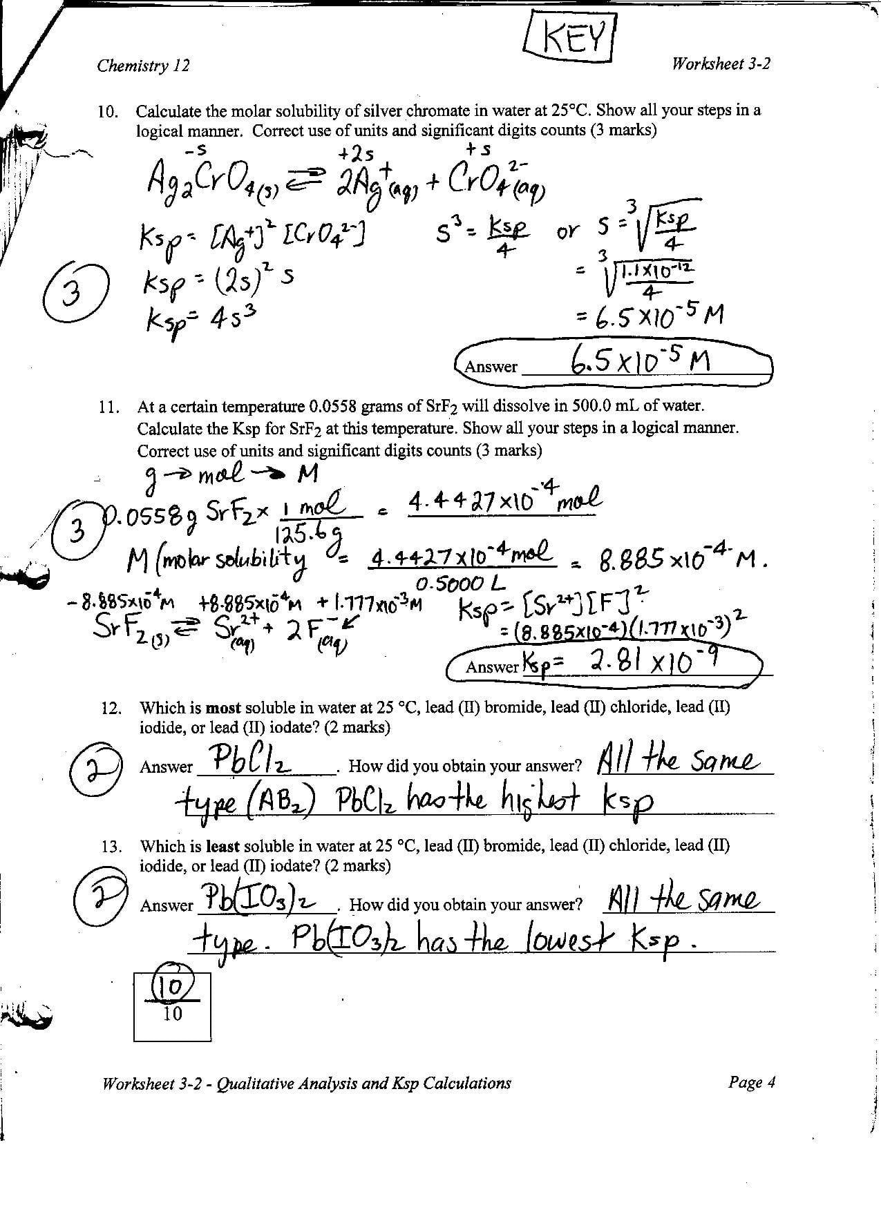 Chemistry Unit 4 Worksheet 2 Answers