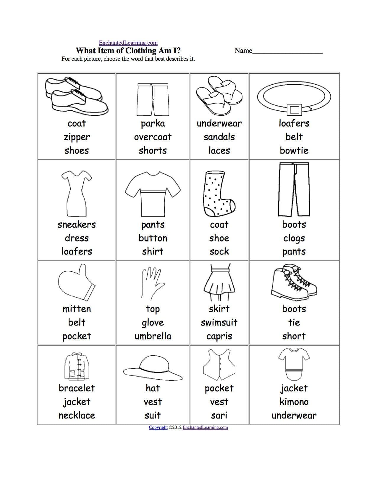 Sorting Clothes Worksheet