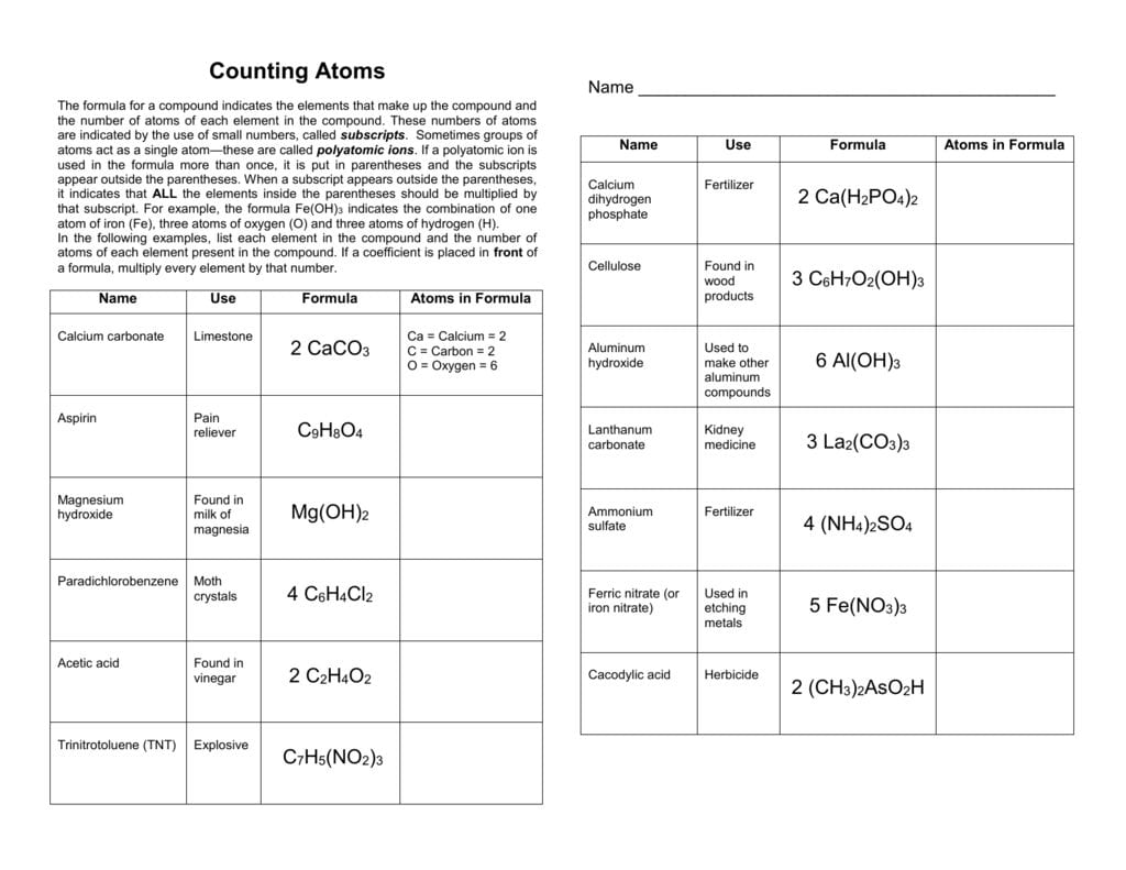 Counting Atoms Worksheet Answers