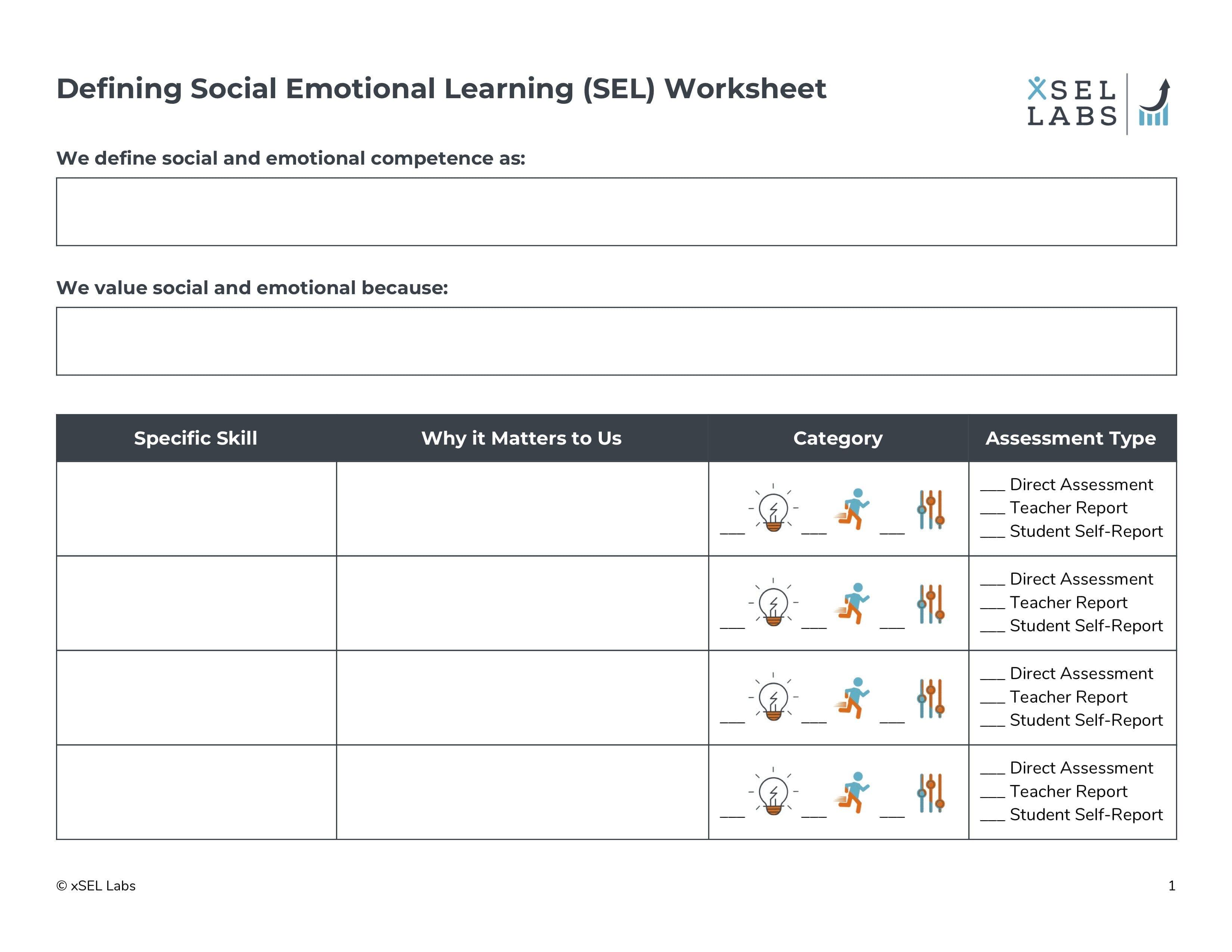 Social Emotional Learning Worksheets