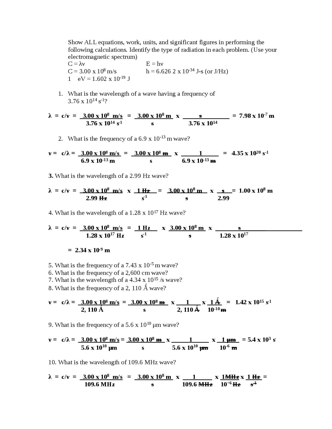 Chemistry Worksheet Wavelength Frequency And Energy Of