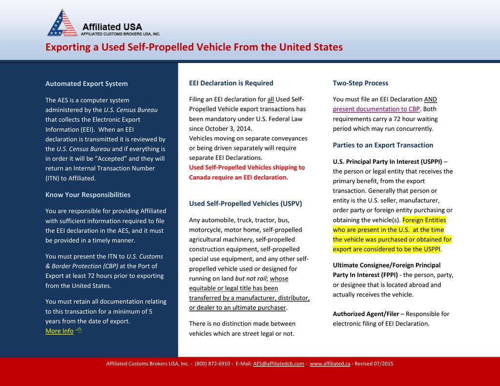 Exporting A Used Selfpropelled Vehicle In U S Customs