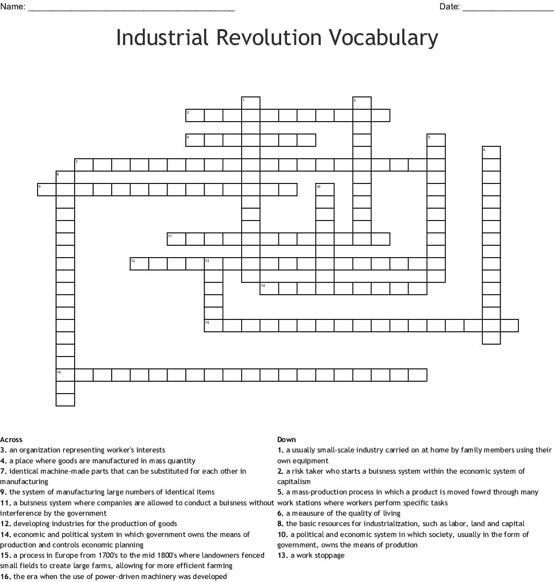 hight resolution of Industrial Revolution Printable Worksheet   Printable Worksheets and  Activities for Teachers