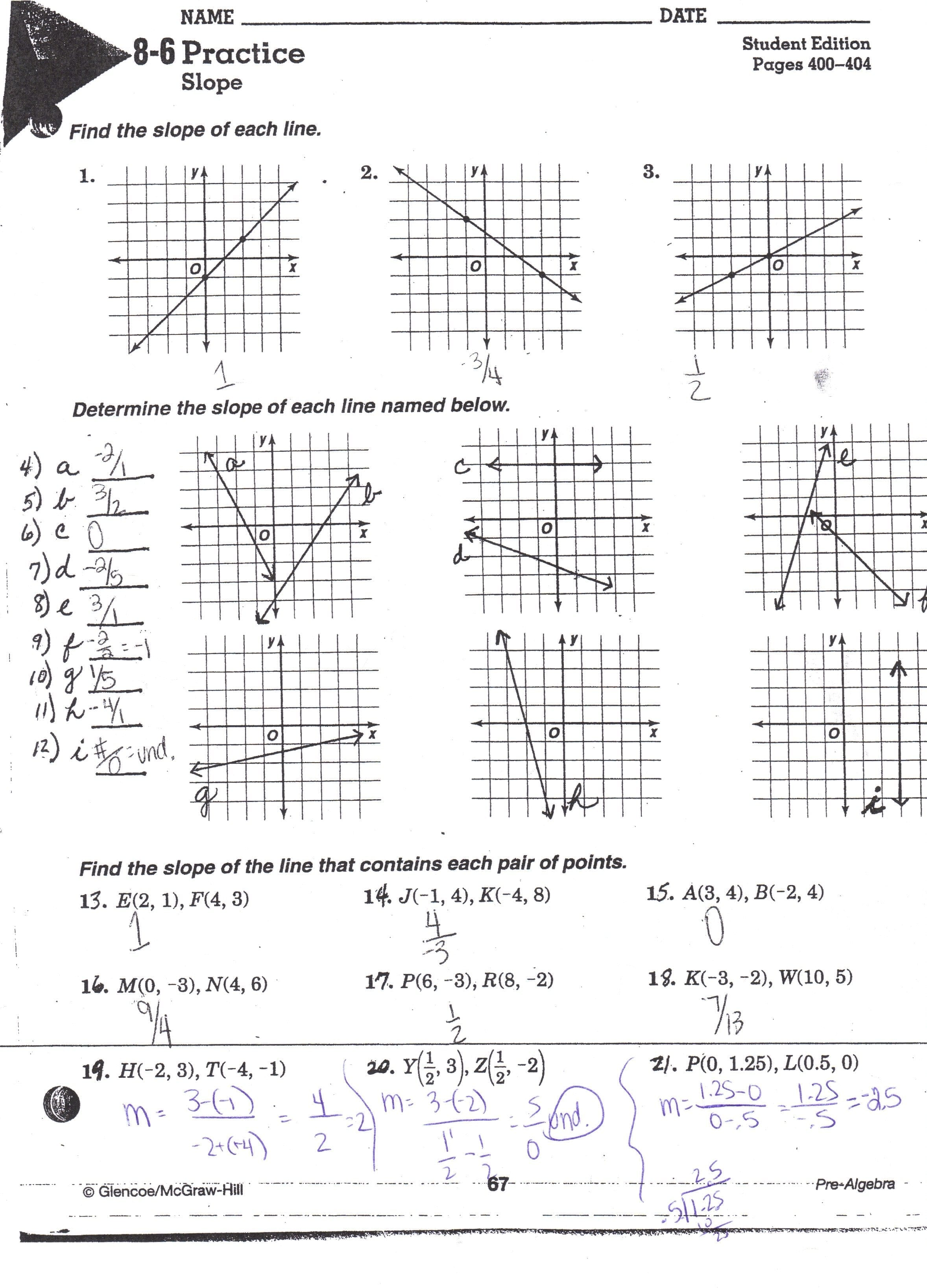 Graphing Linear Equations Worksheet With Answer Key