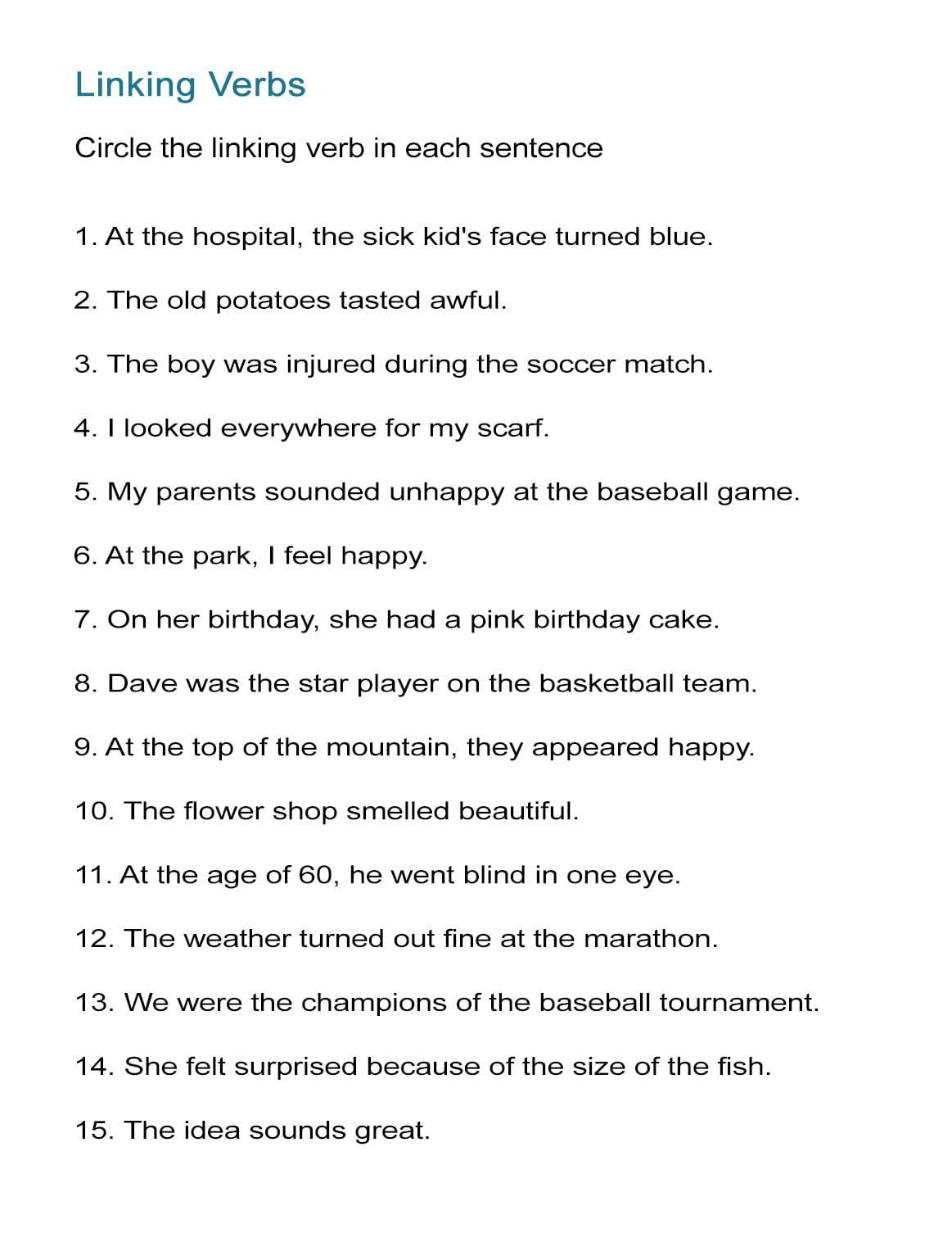 Noun Verb Sentences Worksheets