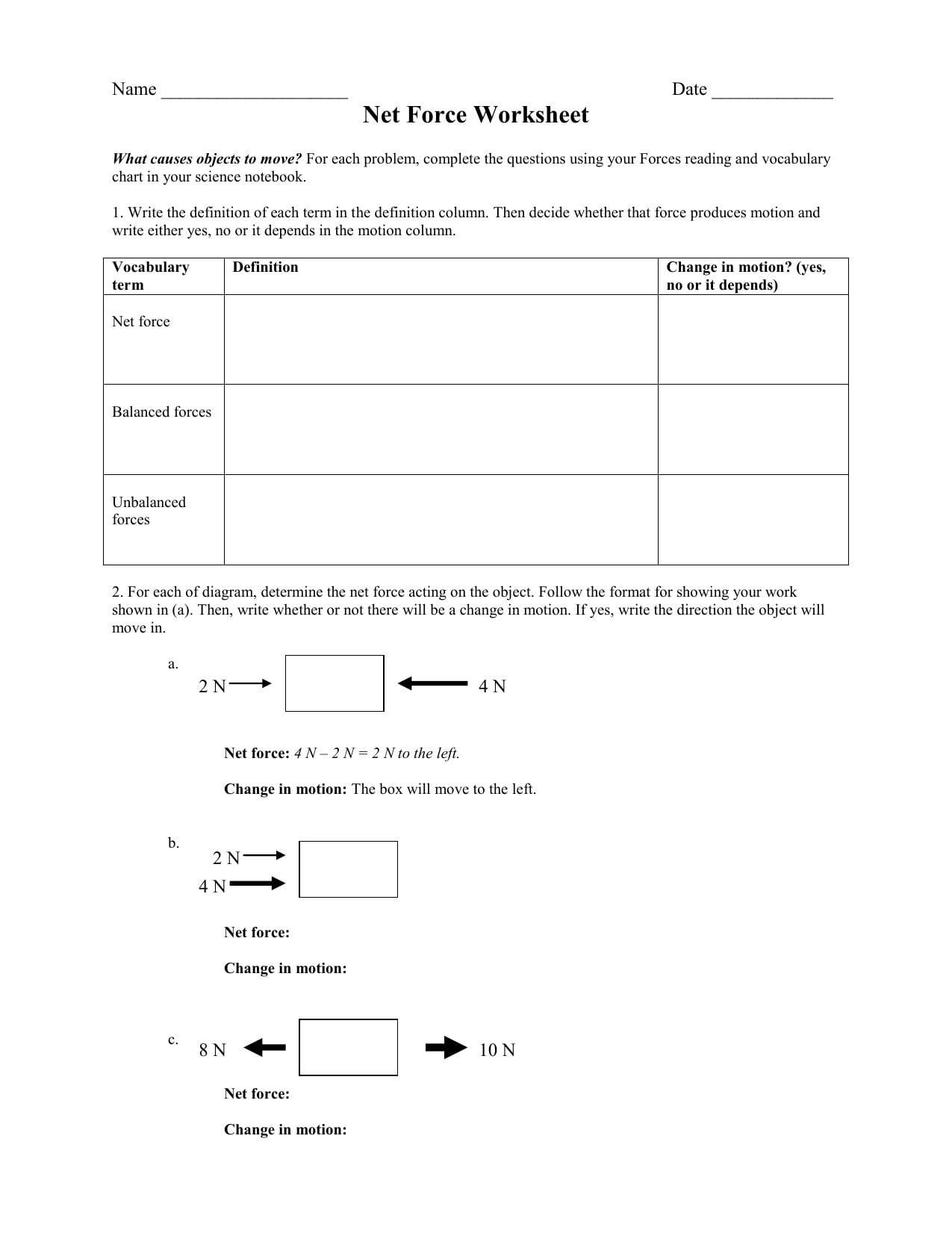 Net Force Worksheet Answer Key