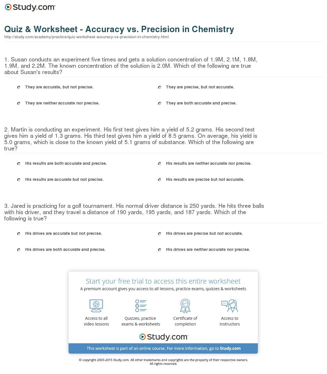 Accuracy And Precision Worksheet Answers