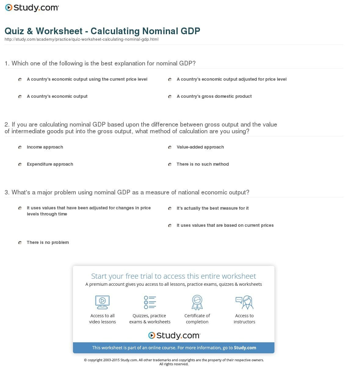 Gdp Worksheet Answers