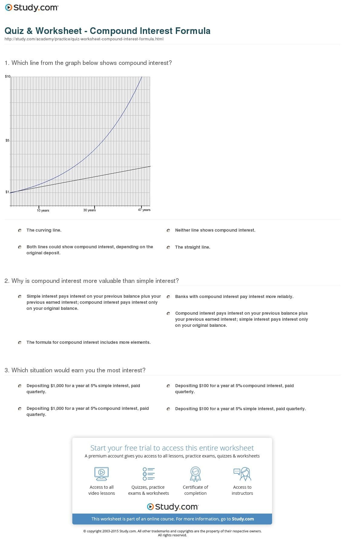 Compound Interest Worksheet Answers