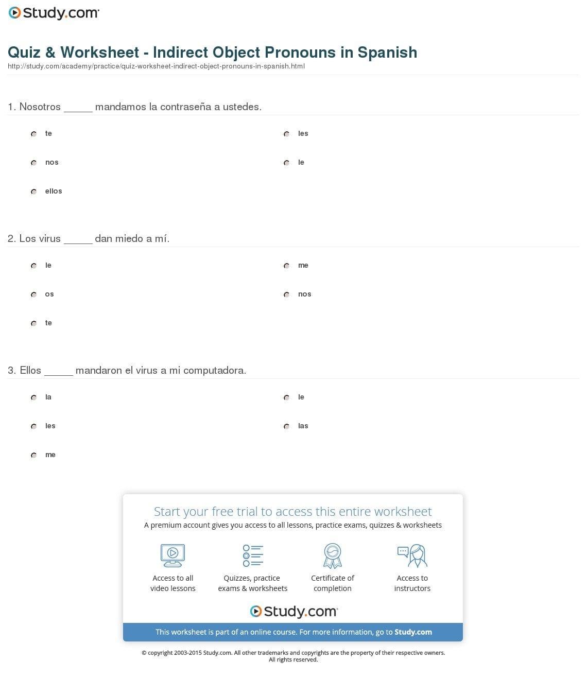 Indirect Object Pronouns Spanish Worksheet