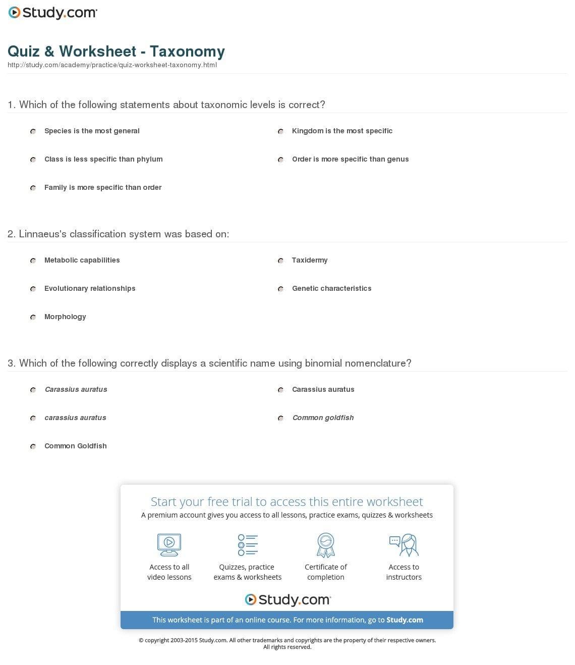 Taxonomy Worksheet Biology Answers