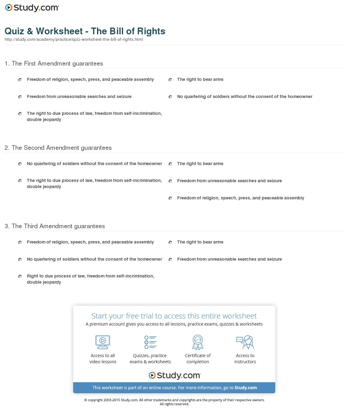 Bill Of Rights Worksheet High School
