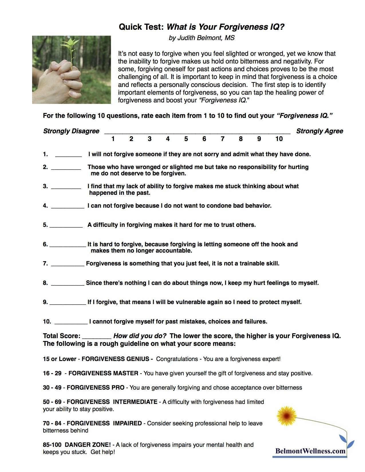 Self Forgiveness Worksheet