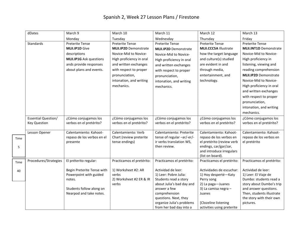 Spanish 2 Week 27 Intended For Worksheet Preterite Tense