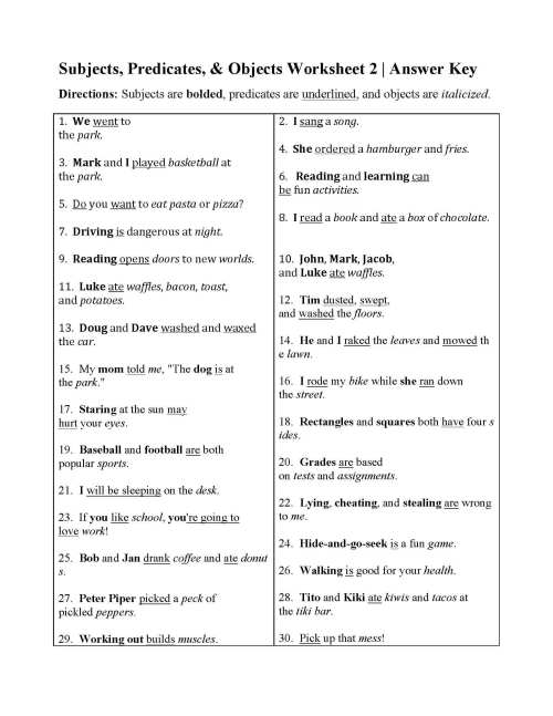 small resolution of Worksheet For Grade 2 Subject And Predicate   Printable Worksheets and  Activities for Teachers