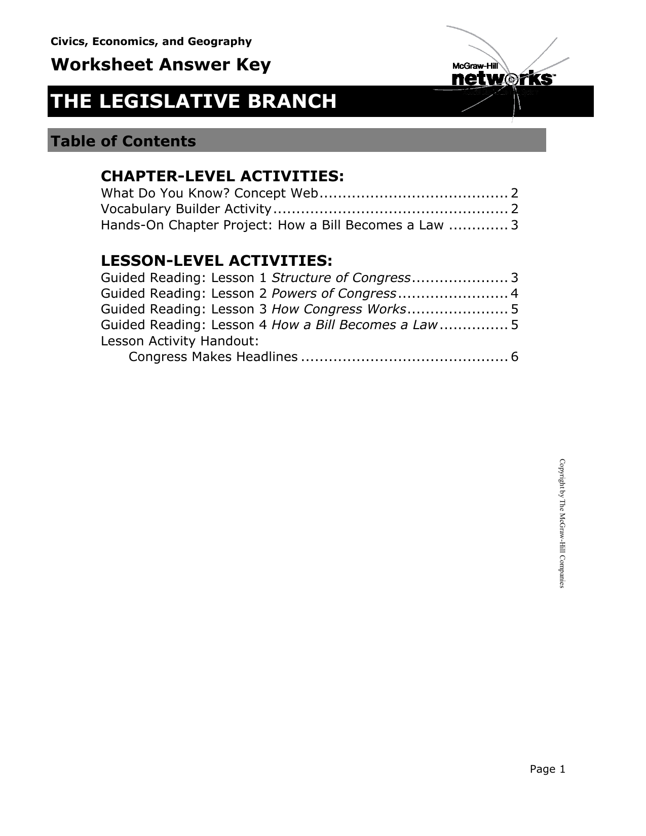 Legislative Branch Worksheet Answers