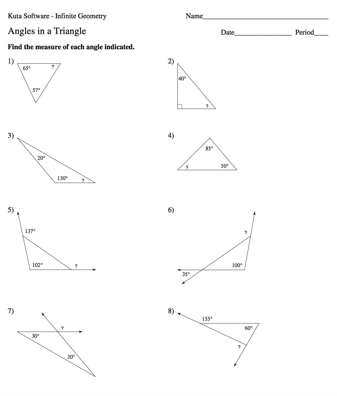 Find The Measure Of Each Angle Indicated Worksheet