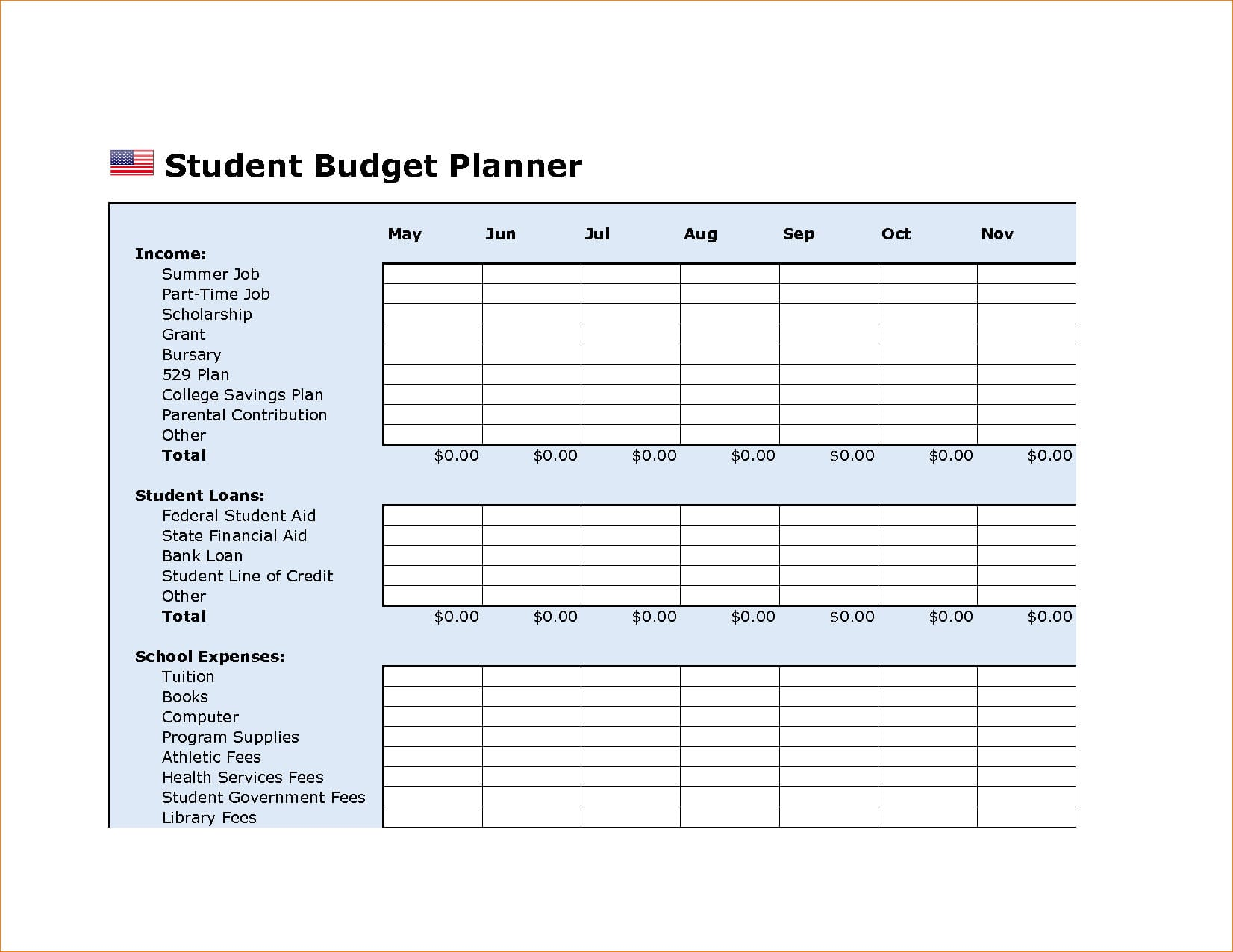 College Student Budget Worksheet