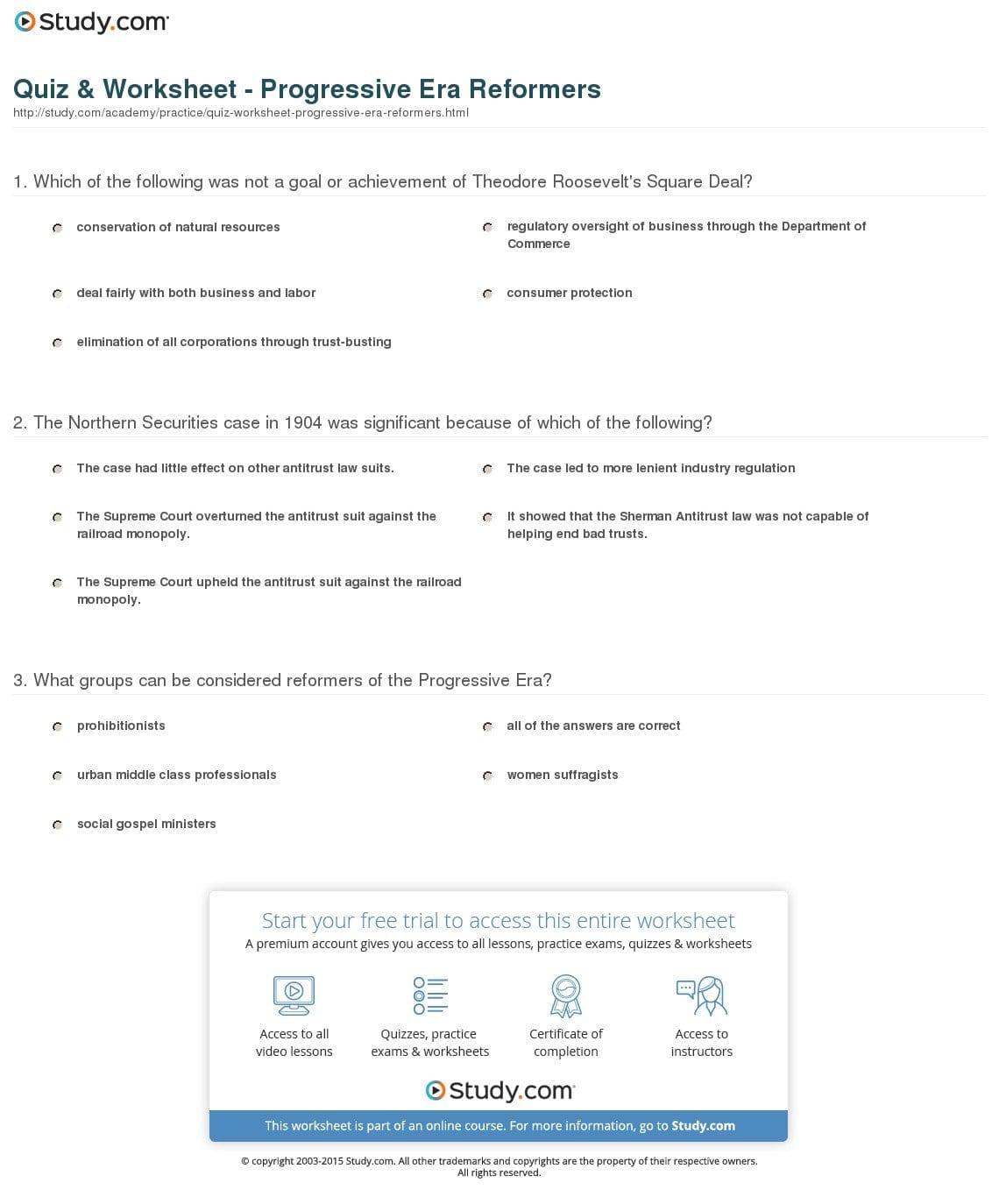 Progressive Movement Worksheet Answers
