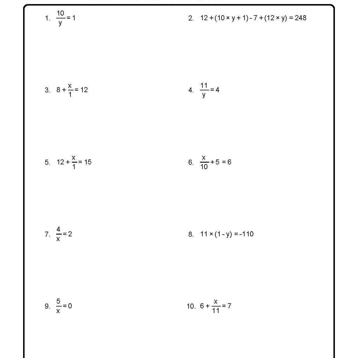 Solve For X Worksheets