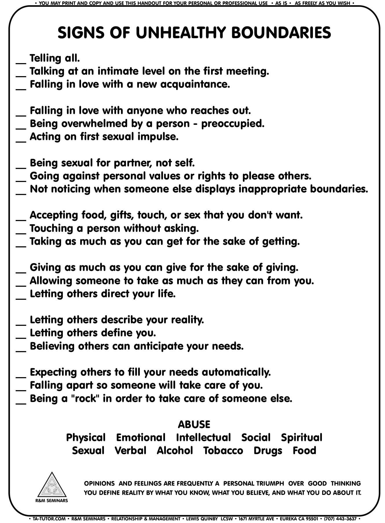 Setting Healthy Boundaries In Recovery Worksheets