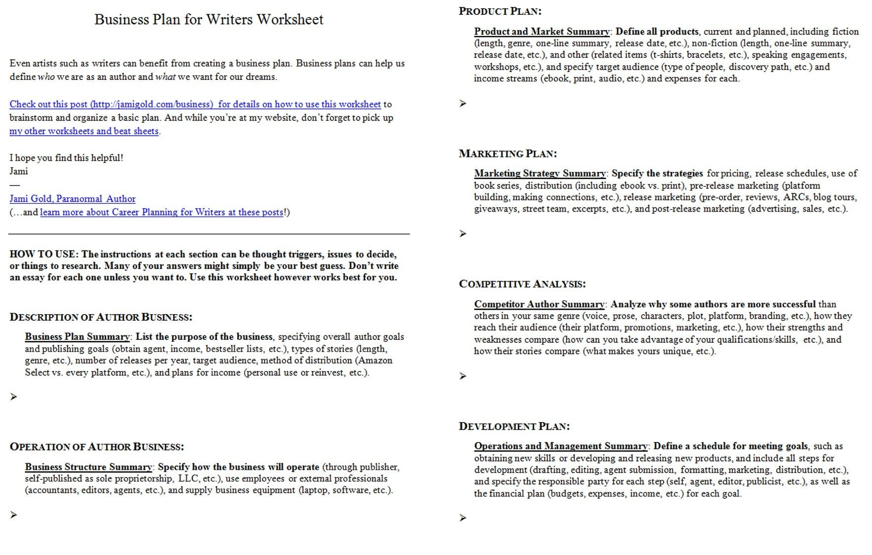 Memoir Writing Worksheets