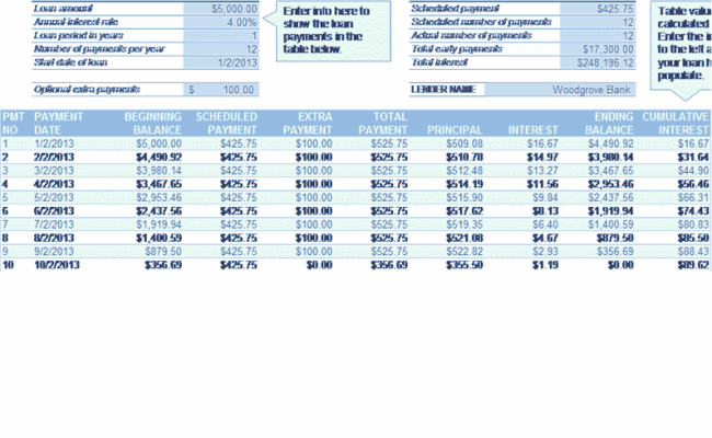 Download Loan Amortization Excel 365 360 Related Excel