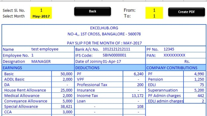 pay slip in excel