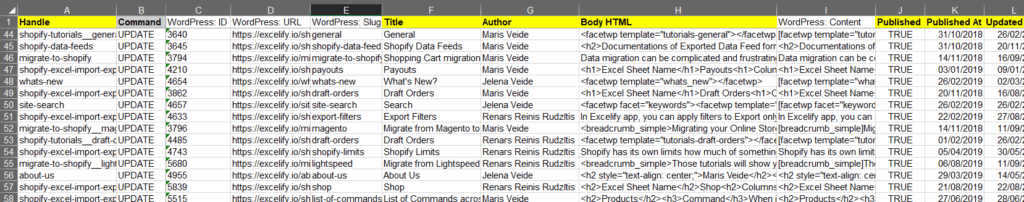 7 - check generated Excel WordPress Shopify Redirects for pages Excelify