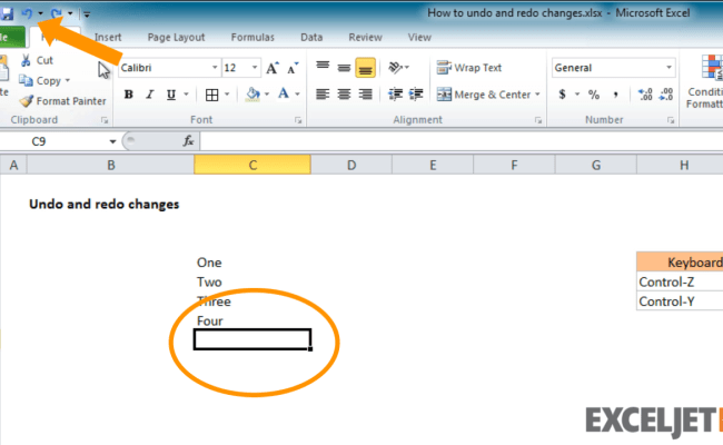 Excel Tutorial How To Undo And Redo Changes In Excel