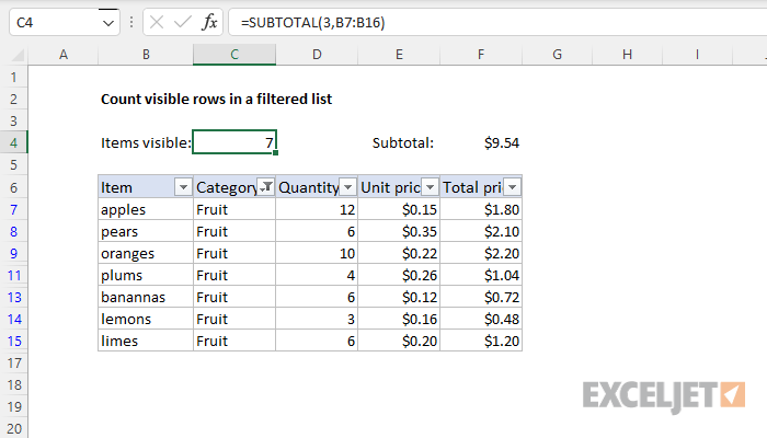 Excel formula count visible rows in  filtered list also exceljet rh