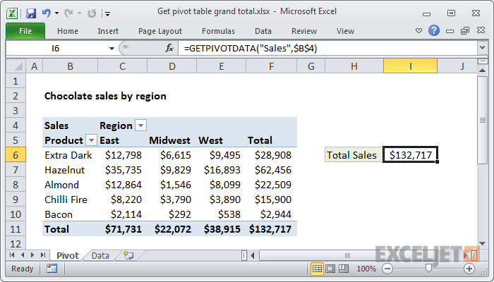 Excel formula get pivot table grand total also exceljet rh