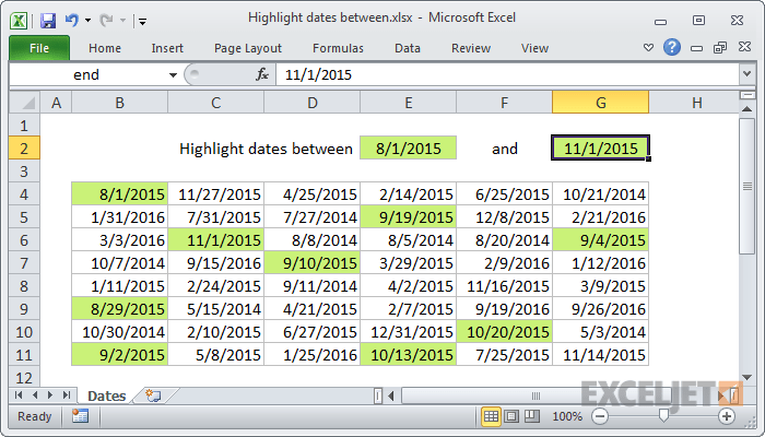 Excel formula highlight dates between also conditional formatting gantt chart exceljet rh