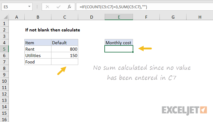 excel formula only calculate
