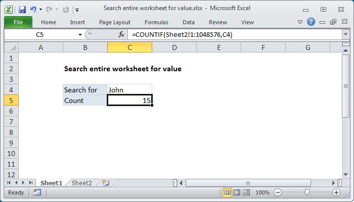 Excel formula: Search entire worksheet for value | Exceljet